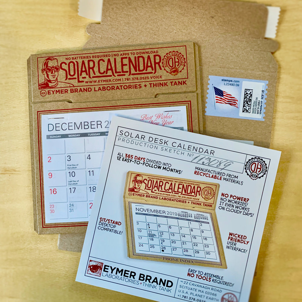 The 2019 EYMER BRAND Laboratories SOLAR DESK CALENDAR