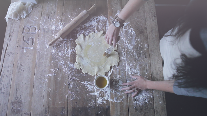 Preparing the dough for the crostata.
