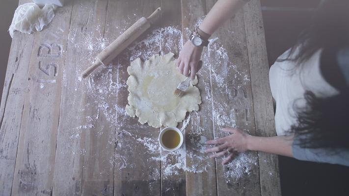 Preparing the dough for the crostata.