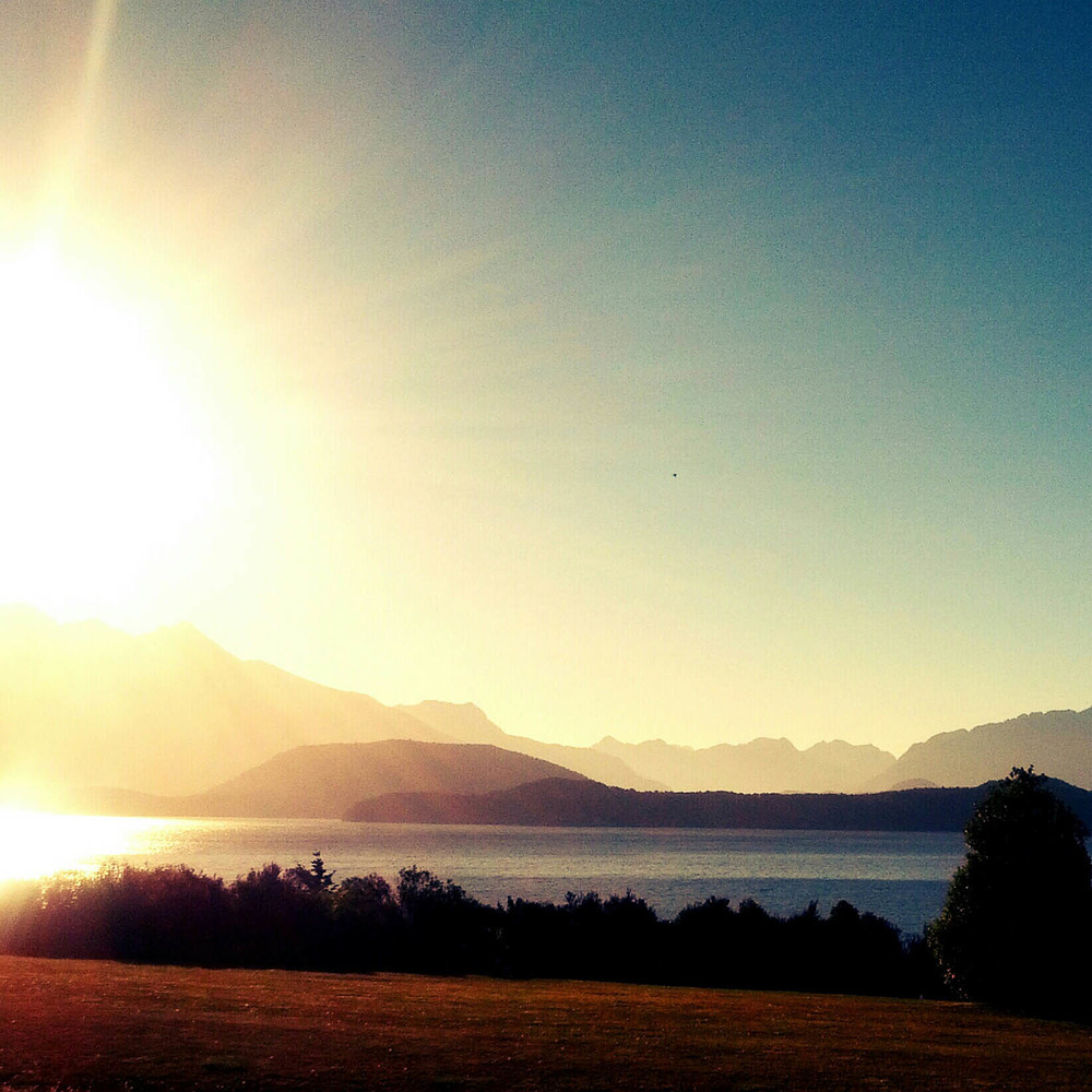 Sunset over Lake Manapouri.