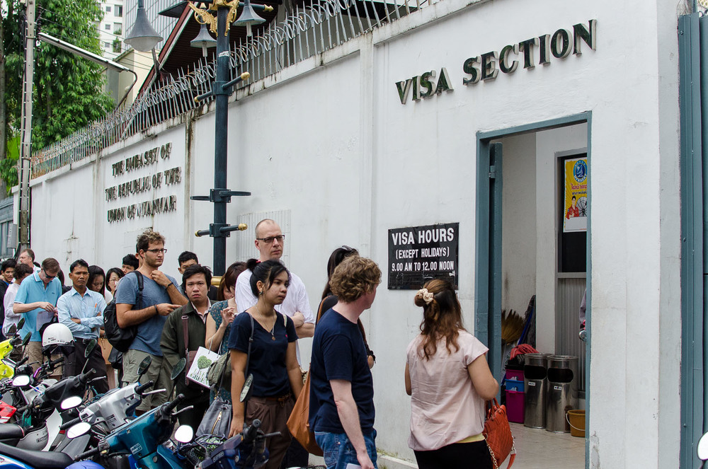 It's best to arrive early to beat the crowds when applying for a Myanmar visa in Bagnkok.