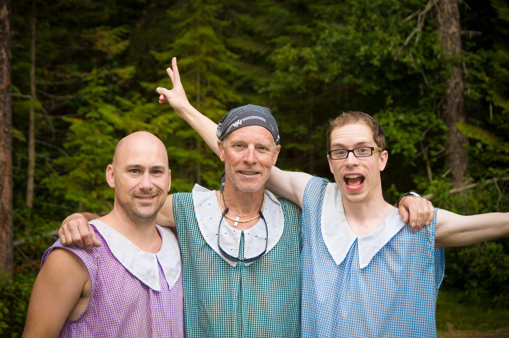 Doing it in a dress.  Jeff, Dale and I after 5 days and 70km in the Canadian Rocky mountains.