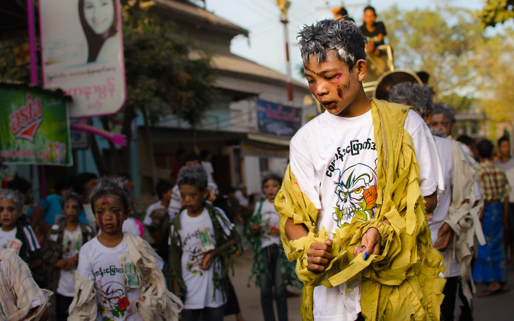 "Any other time, and Burmese kids dressed as zombies doing a choreographed number to ""Thriller"" would have received top billing in this story.  © Dustin Main 2014"