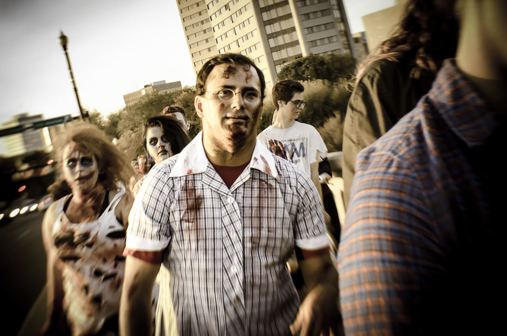 Nathan does the Zombie Walk... in a dress.   © Dustin Main 2013