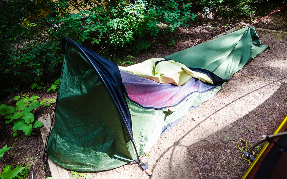 My bivy mansion.  Imagine trying to take off a dress in there without dislocating your shoulder. © Dustin Main 2014