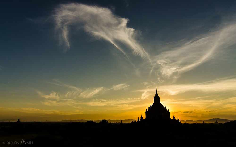 A backlit Sulamani temple at sunset, shot from the upper area of Thebeik Hmauk. © Dustin Main 2014