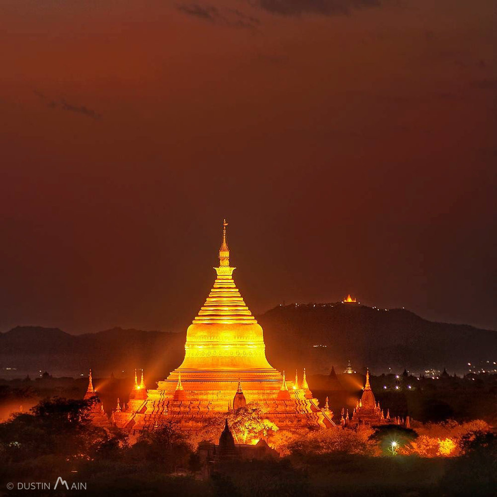 Five-sided Dhammayazika Zedi illuminated at shortly after sunset in Bagan, Myanmar. © Dustin Main 2016