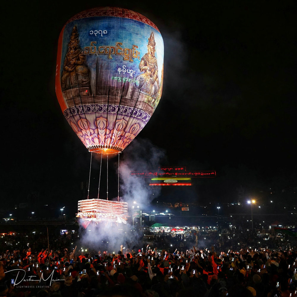 The crowd captures the launch - Fire Balloon Festival in Taunggyi (Tazaungdaing)