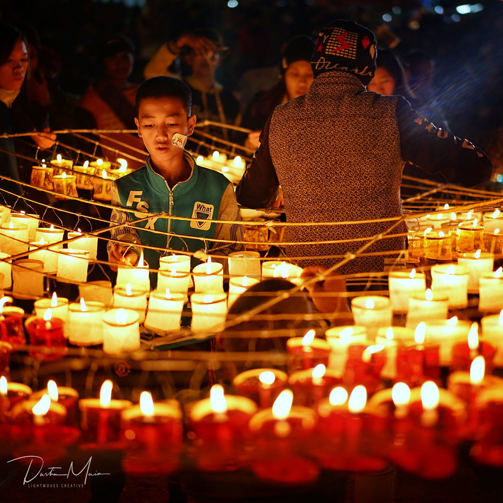 Preparing The Candles on Bamboo - Fire Balloon Festival In Taunggyi (Tazaungdaing)