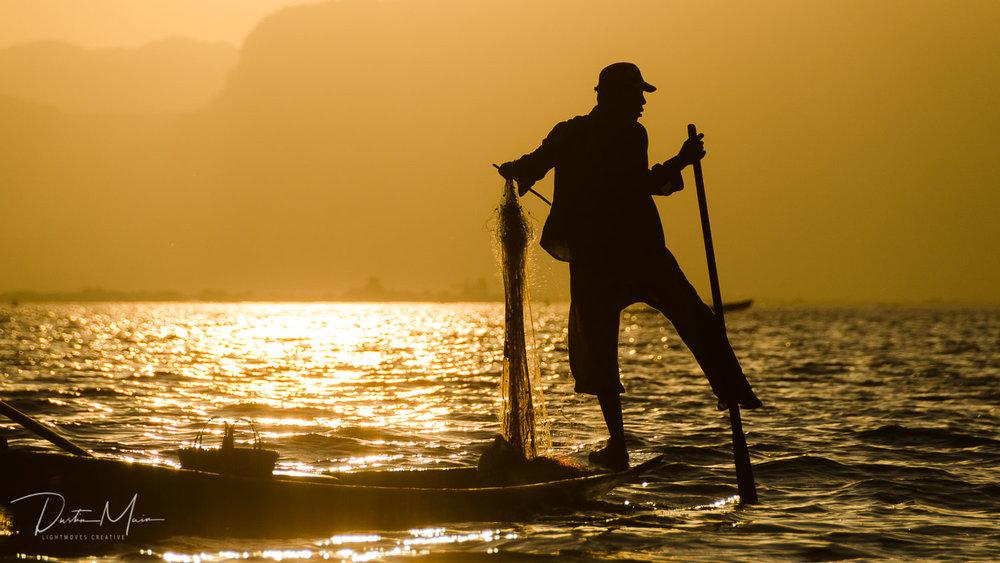 Fishing on Inle Lake by an Intha fisherman -Un-Tour to Myanmar