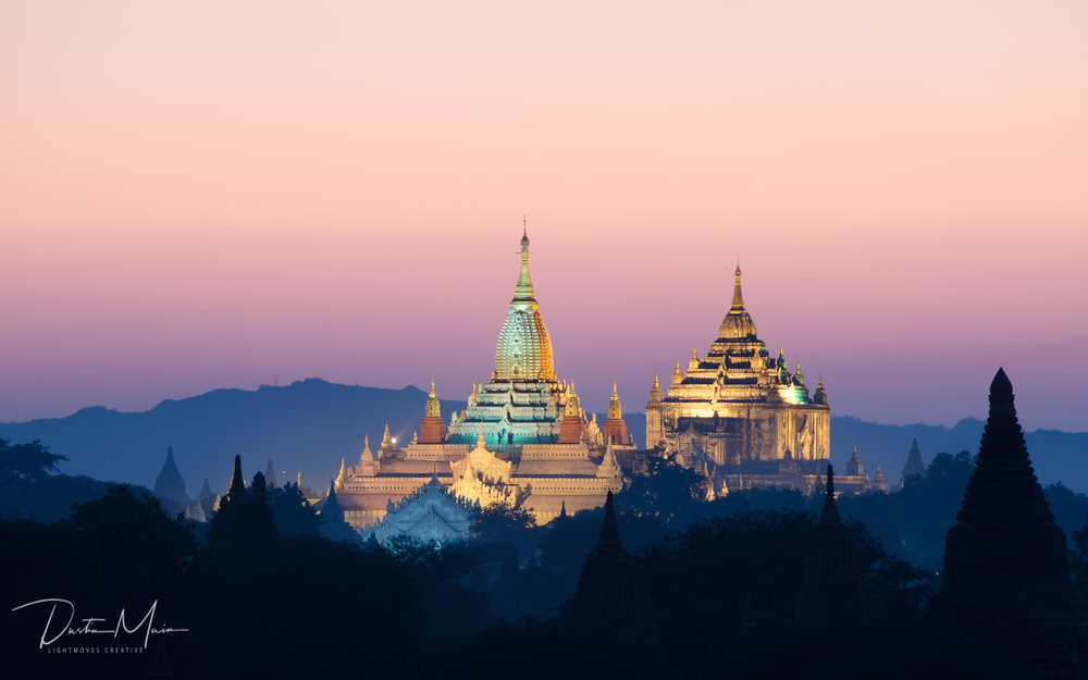 Temples lit as the sun goes down in Bagan - Un-Tour to Myanmar