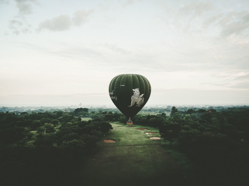 Green Balloon over Bagan Golf Course