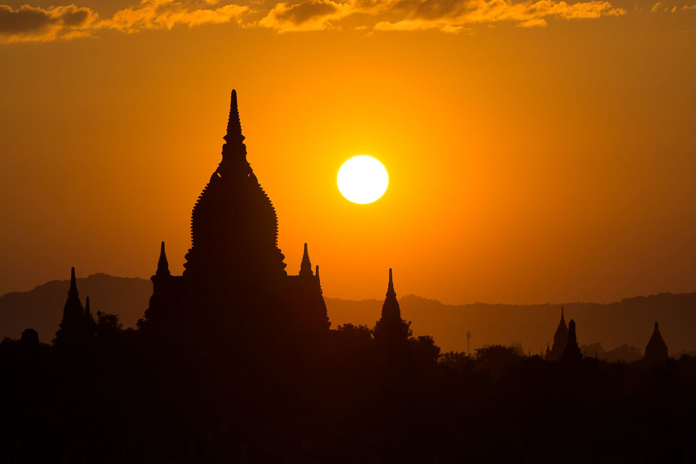 Glowing sunset in Bagan