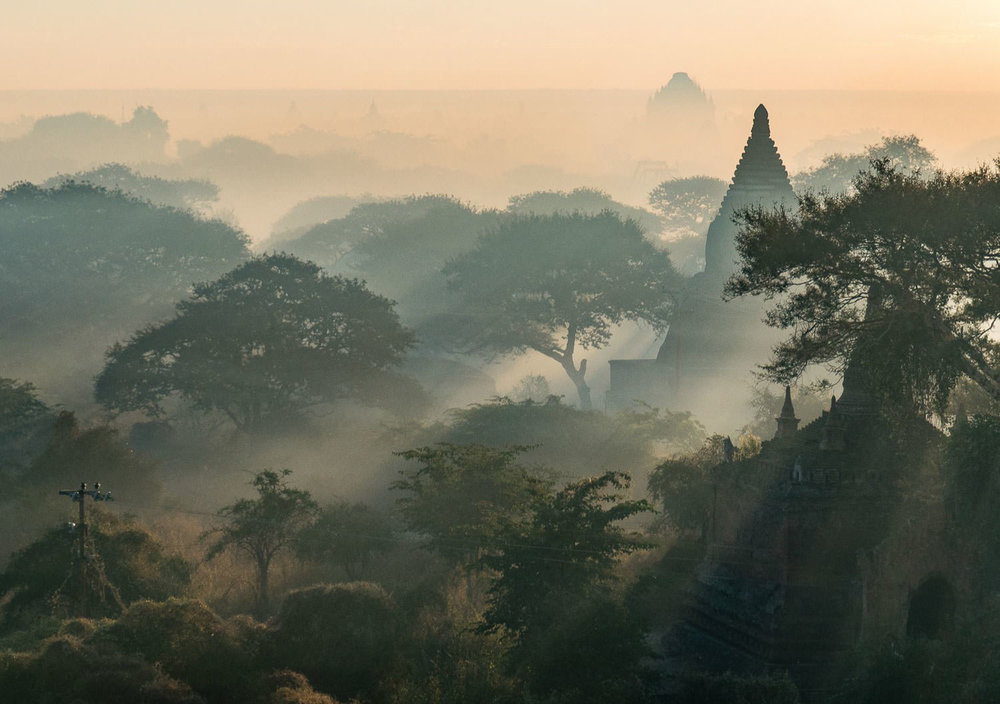 Hazy sunrise in Bagan