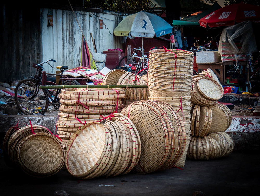 Woven trays at the market