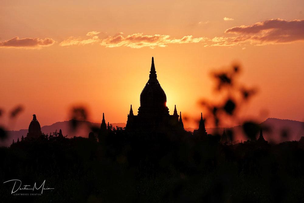 Temple silhouette at sunset in Bagan, Myanmar © Dustin Main 2017