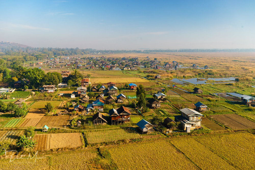 Our hot air balloon landing site just North of Inle Lake.  We landed in the field in the lower-center of the photo.  © Dustin Main 2017