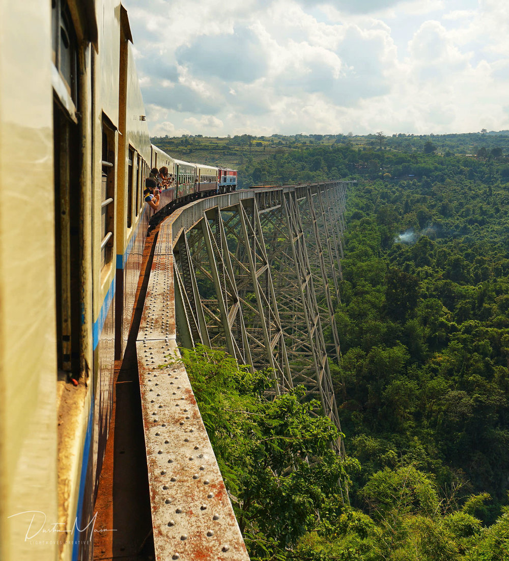 Crossing the Goktiek Viaduct over the valley and jungles below. © Dustin Main 2018