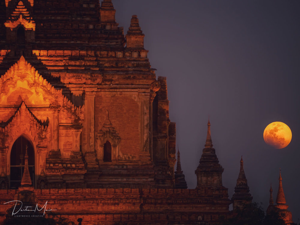 The lunar eclipse beside the nearly 1000 year old Htilominlo temple in the plains of Bagan. © Dustin Main 2018