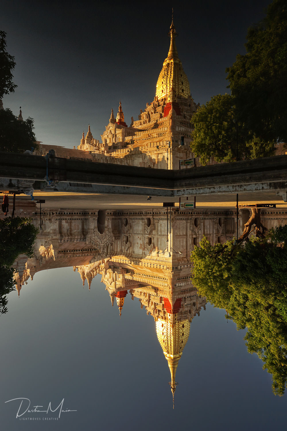 Reflections of the newly renovated Ananda Temple in Old Bagan. © Dustin Main 2018