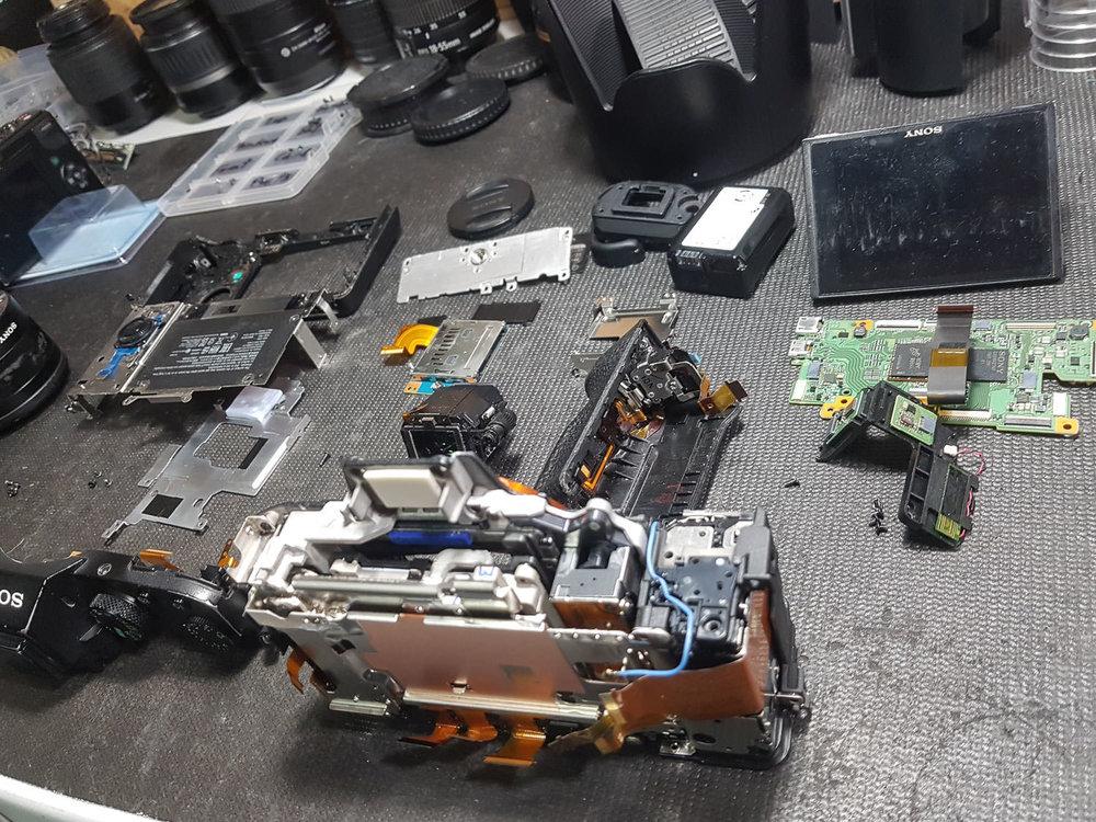 My Sony A7ii camera body, exploded. © Paramount Camera Repair 2019