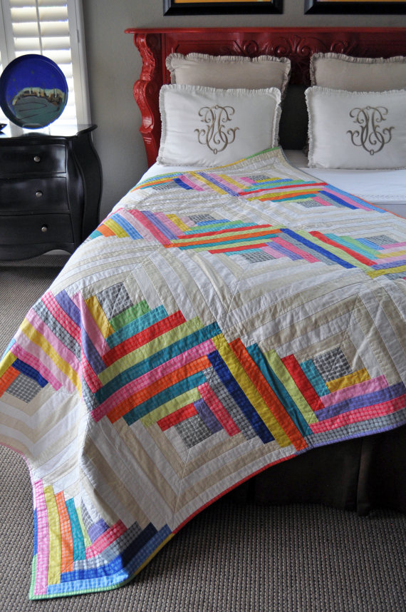 Mirror Ball Dot Log Cabin Quilt