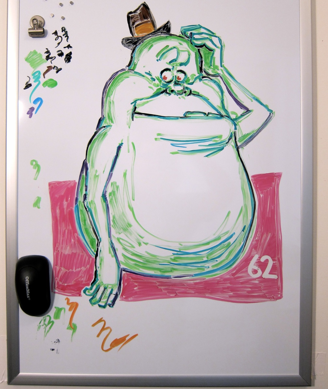 """New Digs"", #62. Got a whiteboard for my home studio today. It's a bit different from the other whiteboard, but it'll do."