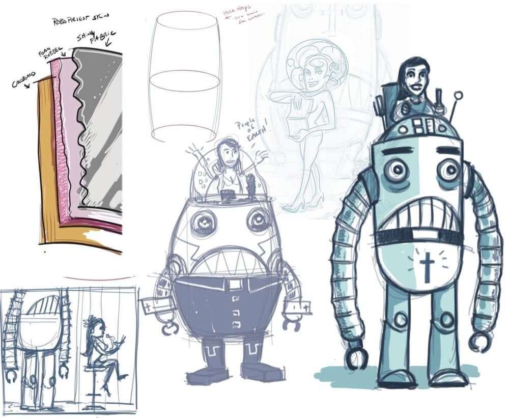 Concept sketches for ROBOPRIEST.