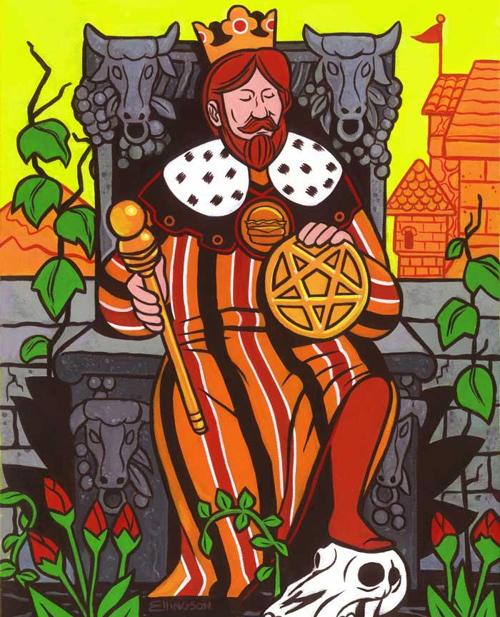 Burger King of Pentacles, 2013  Acrylic and gouache on panel, 11x14""