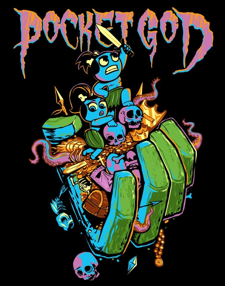 Pocket God metal-inspired Tshirt design