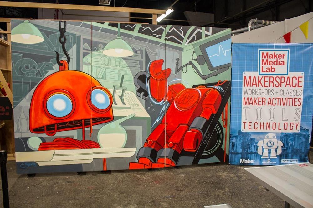 Finished mural at Maker Media Lab