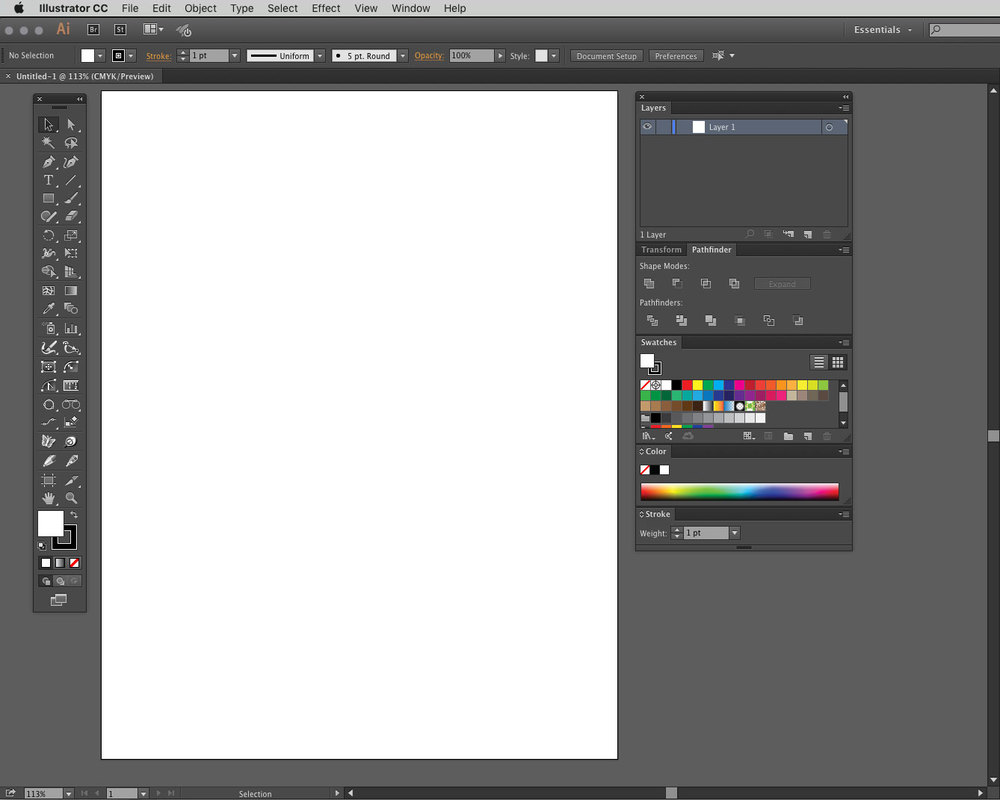 Typical Illustrator Workspace