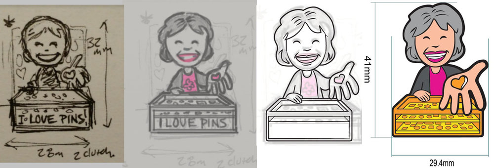 Progress of the Su Lee pin from concept to production art