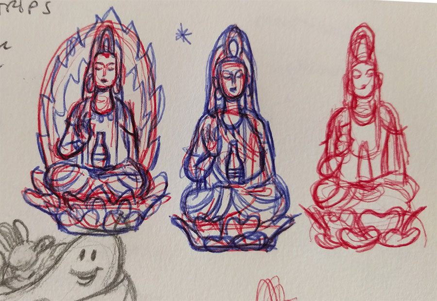 Early sketches of the Quan Yin pin