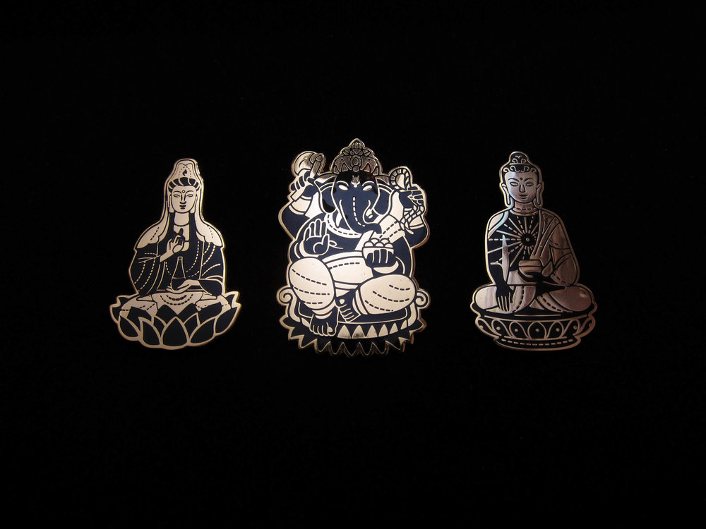 Quan Yin, Ganesh, and Shakyamuni Buddha Pins