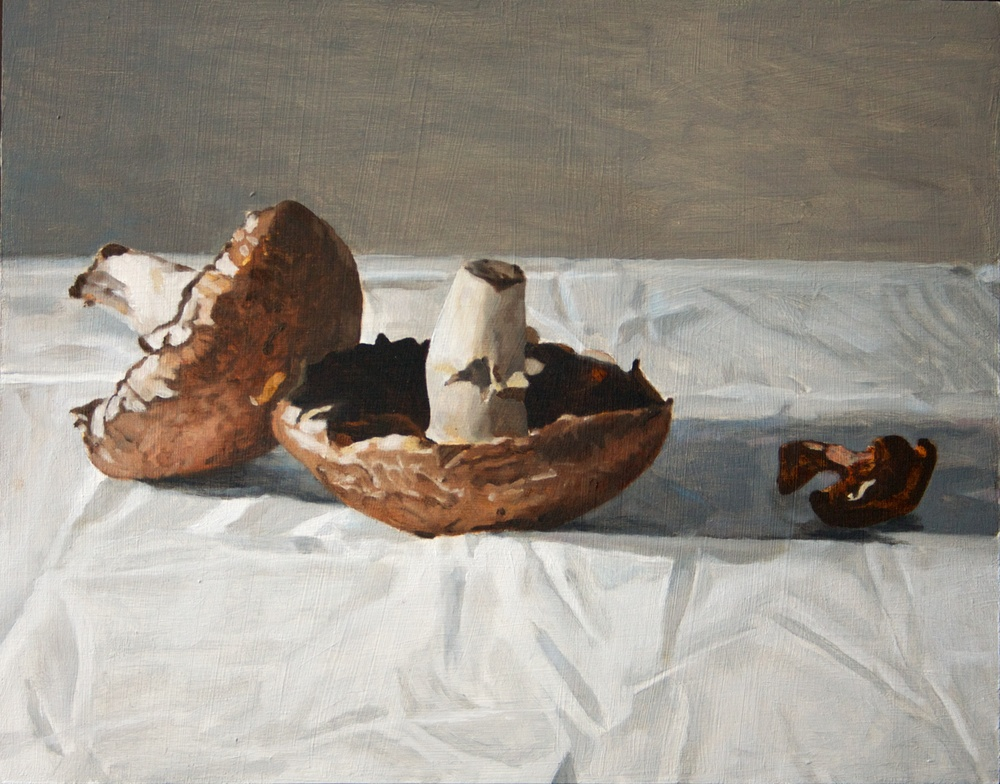 Still Life, Portobello and Shitaki Mushrooms,  2012 Oil on panel,  11 x 14 inches $725 + HST. Custom milled reveal frame, painted white balsam