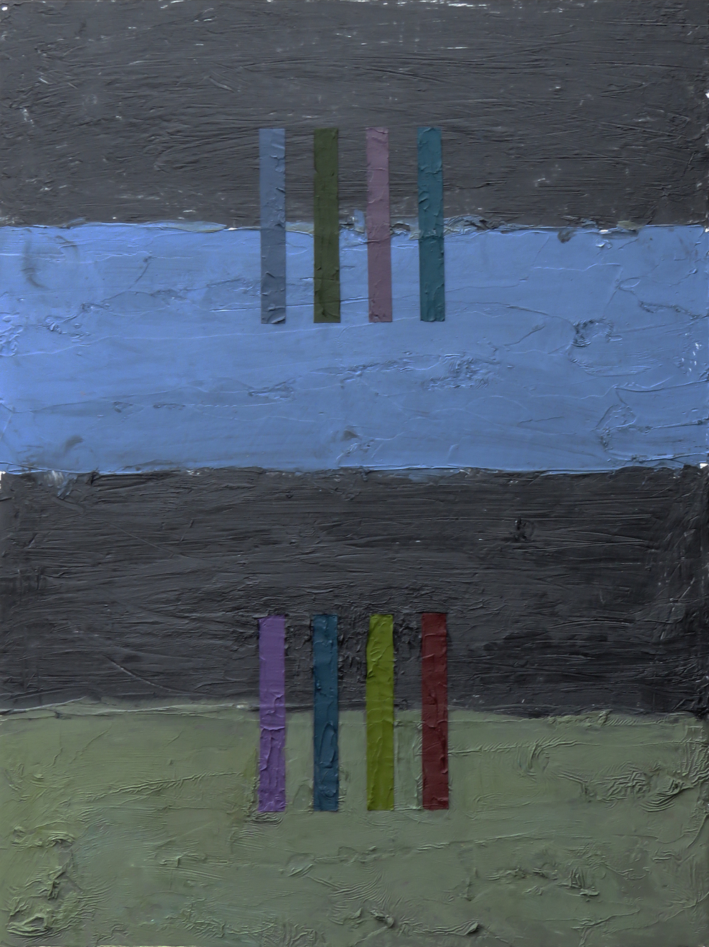 Interference II, 2016 Oil, Alkyd Enamel, Wax on wood, 16 x 12 inches SOLD