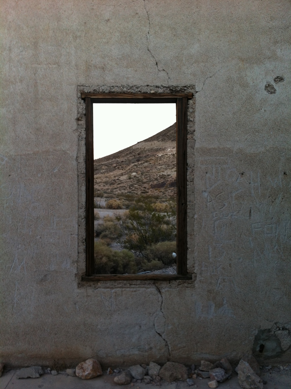 Empty window, Rhyolite Jail: one thing to note - the jail door is intact, and locked solid.
