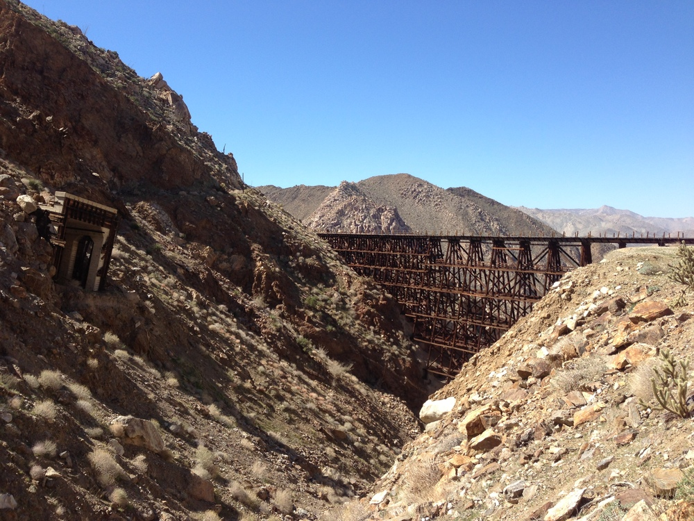 The Goat Canyon Trestle; and the reason for the Goat Canyon Trestle - the collapsed rail tunnel where the route used to go.
