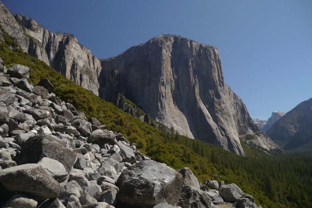 Looking at El Capitan from the Old Rockslides Trail. Photo Courtesy of Calipidder.com
