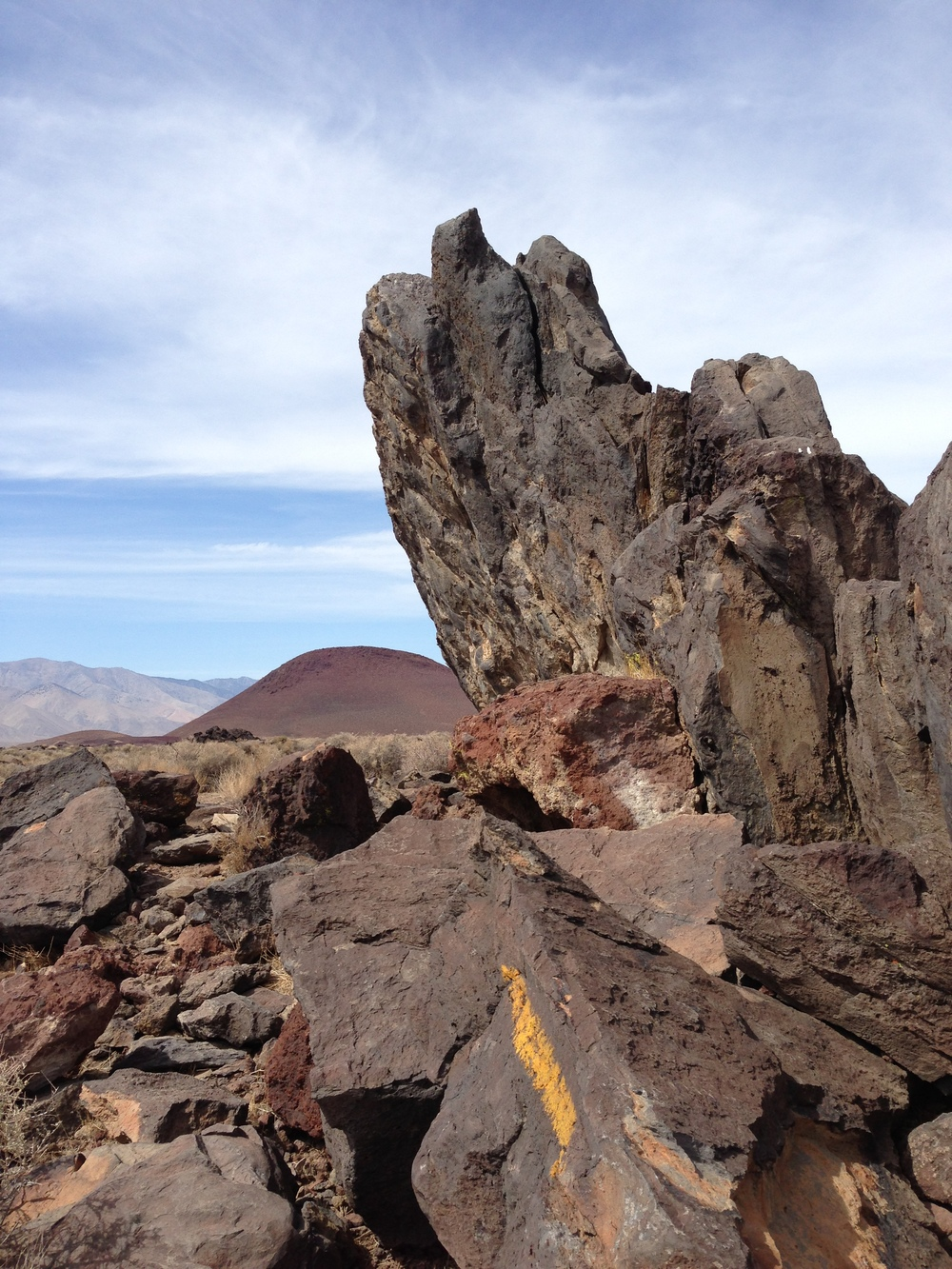 The volcanic scenery around Fossil Falls, including Red Hill