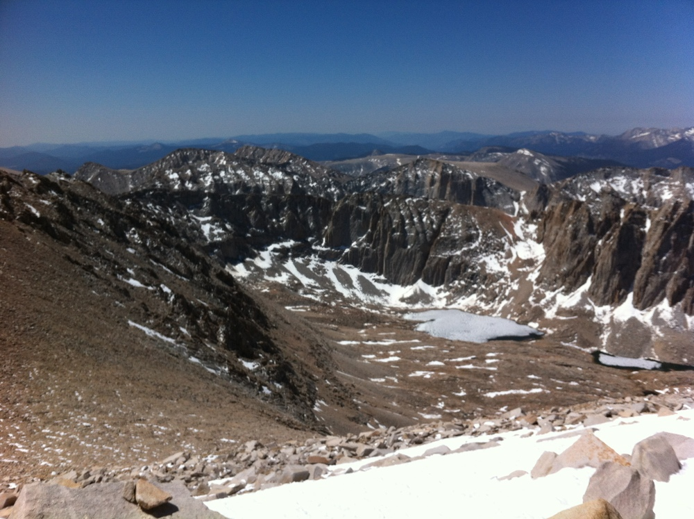Western Sierra Nevada Mountain Range from Mt. Whitney, May 2012