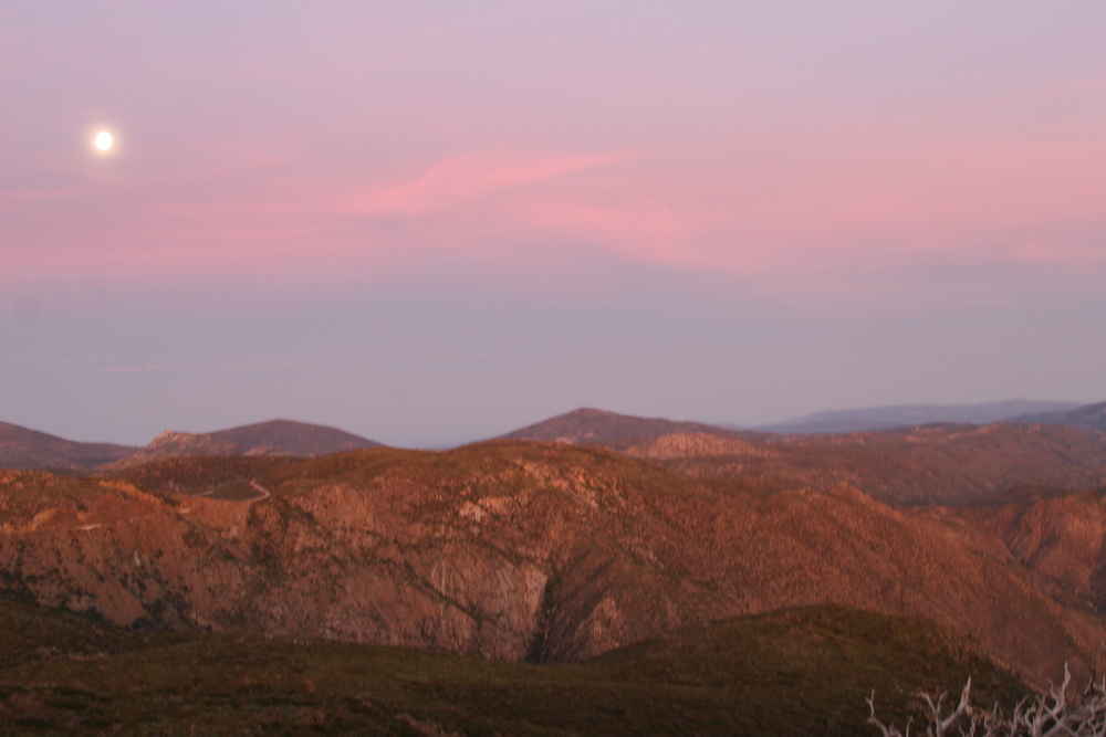 Sunrise and Moonset, Laguna Mountains