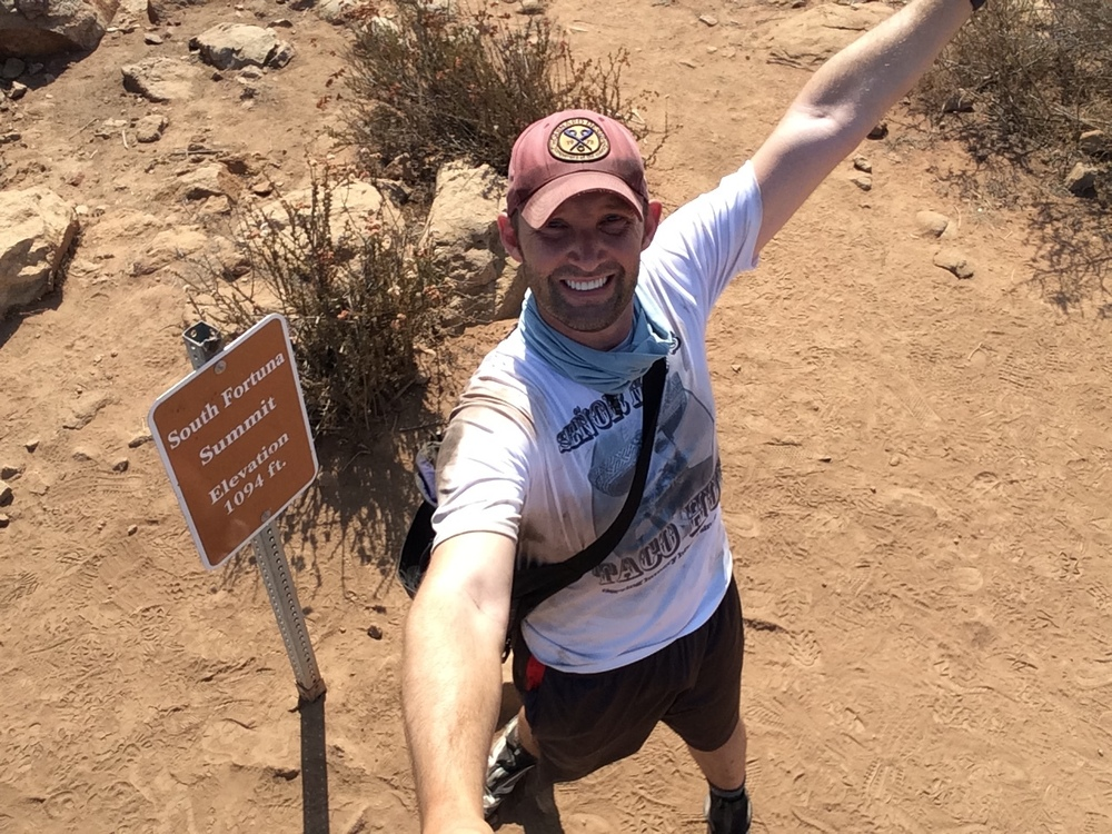 To complete the Five Peak Challenge, take a selfie next to each summit's marker for submission to the Mission Trails park staff.