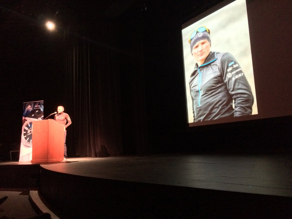 Ueli Steck, speaking during the American Alpine Club 2016 Athlete Tour