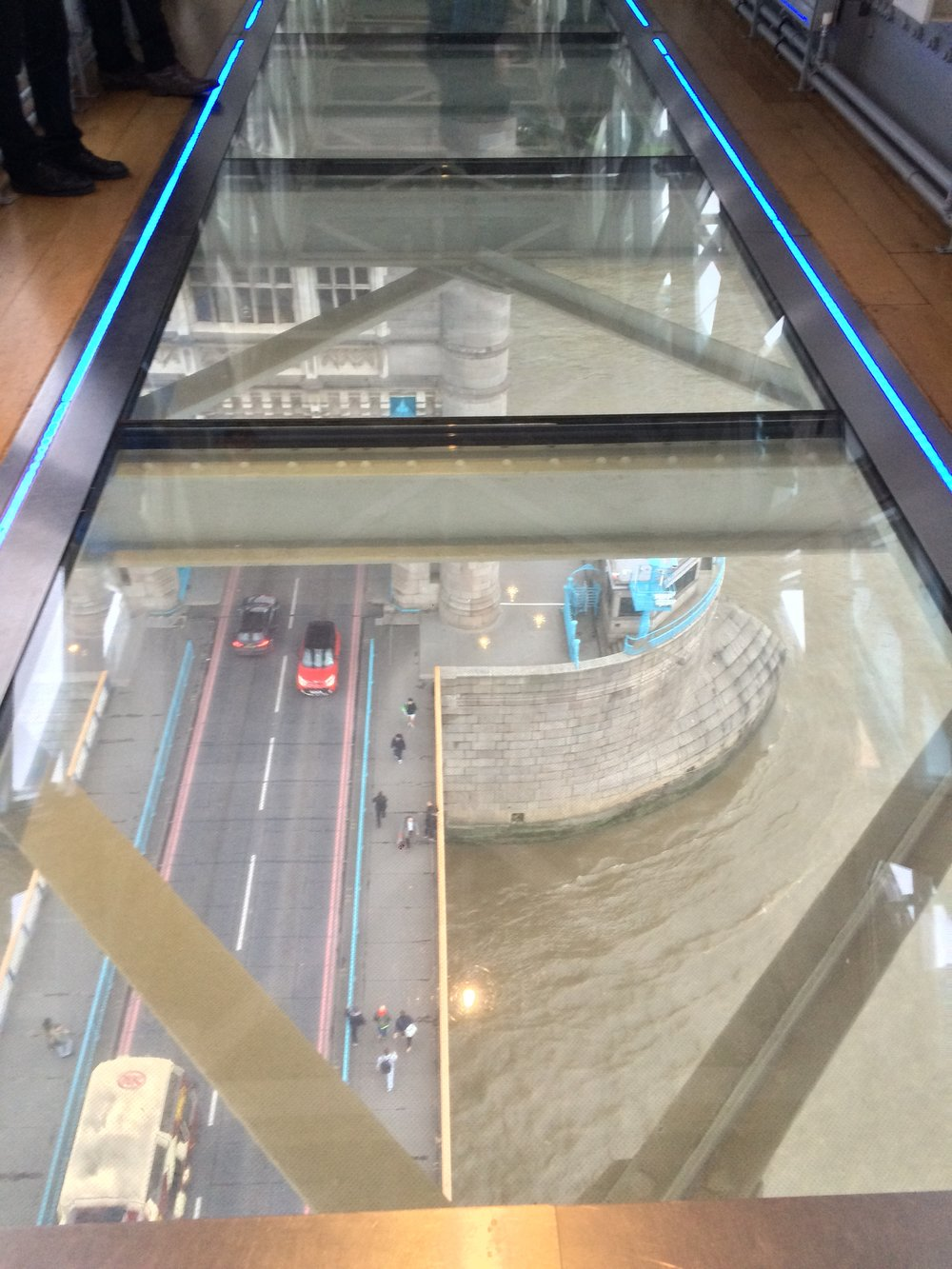 The Glass-Bottomed Walkway is the premier portion of the Tower Bridge Experience