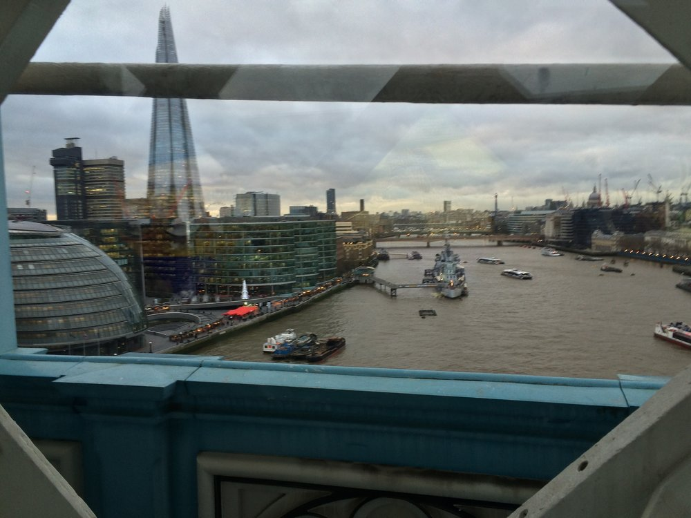 From the upper walkways of the Tower Bridge, one has great views of London, no matter the weather.