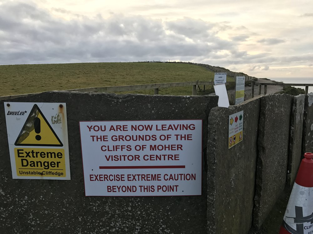 Visitors who want to venture out past the established paths at the Cliffs of Moher must be ready for drop offs and proper hiking.