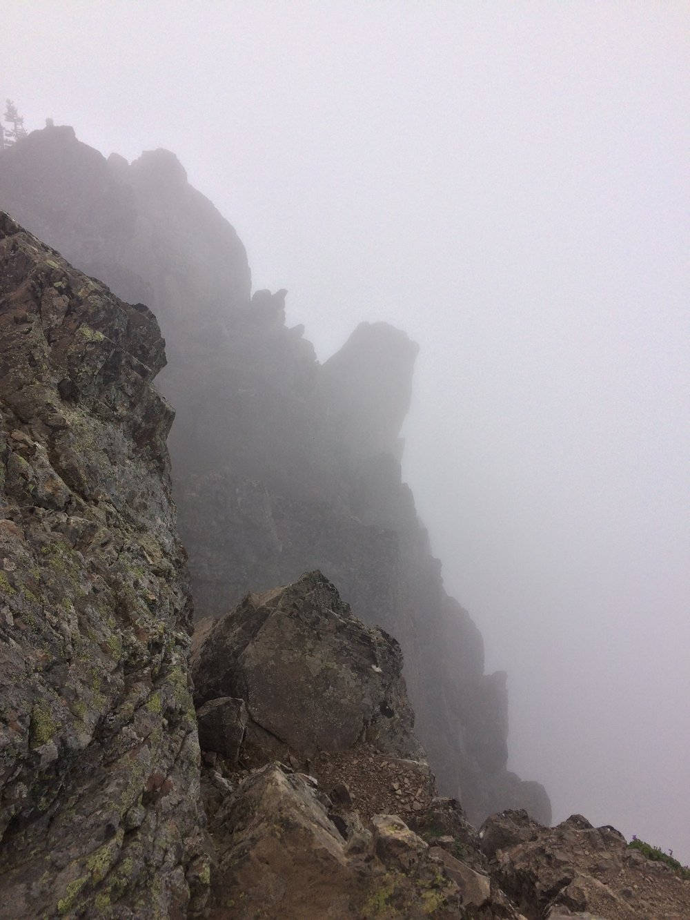 On a clear day, one has perfect 360 degree views from the summit of Ellinor, but on a cloudy day, one can only see the sharp drop-offs near the summit block.