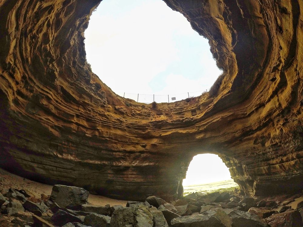 With its collapsed ceiling and singular opening, this cave has become the most popular Sunset Cliff's cave.